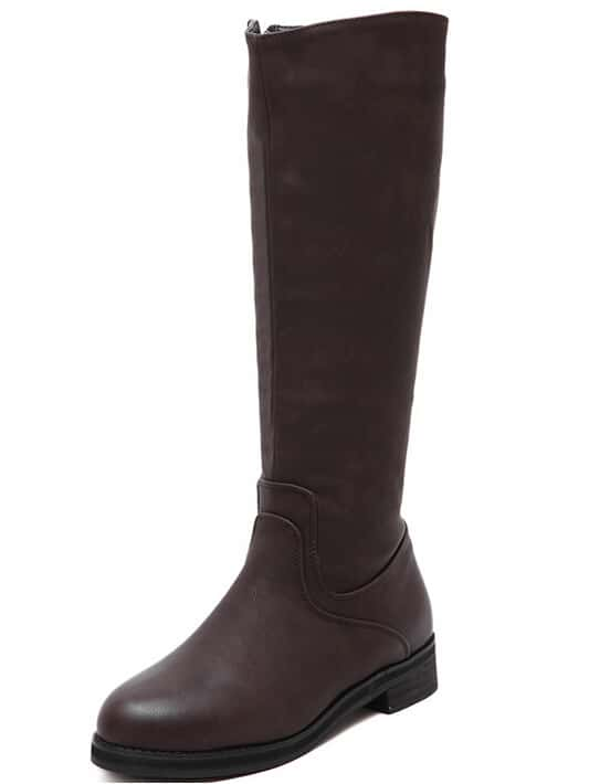 Brown Round Toe Zipper Tall Boots