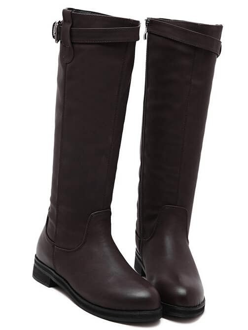 Brown Round Toe Buckle Strap Zipper Tall Boots