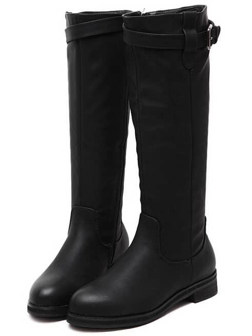 Black Round Toe Buckle Strap Zipper Tall Boots