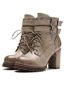 Grey Buckle Strap Lace Up High Heeled Boots
