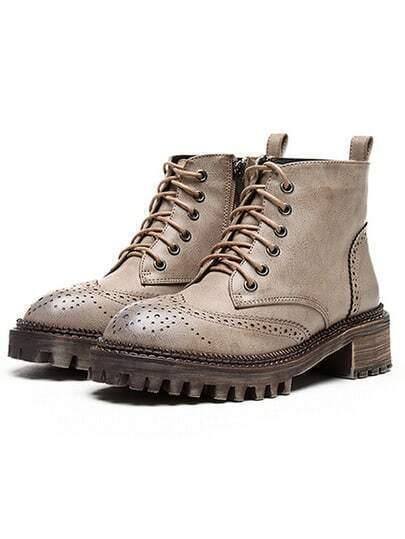 Khaki Lace Up Pierced Boots