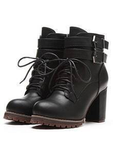 Black Buckle Strap Lace Up High Heeled Boots