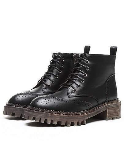 Black Lace Up Pierced Boots
