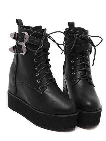 Black Lace Up Buckle Strap Thick-soled Boots