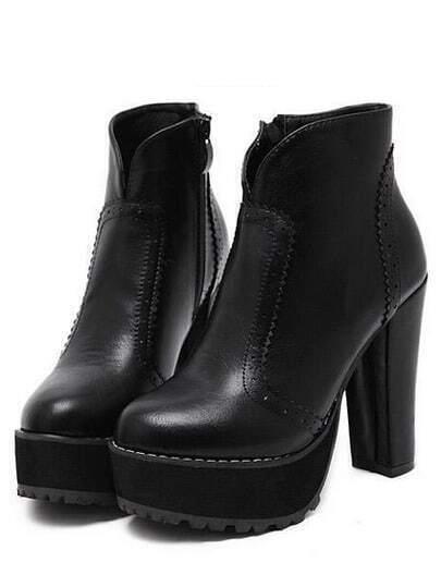 Black Zipper Pierced Chunky Heel Boots