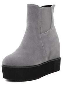Grey Round Toe Thick-soled Elastic Boots