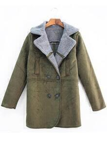 Army Green Lapel Double Breasted Coat