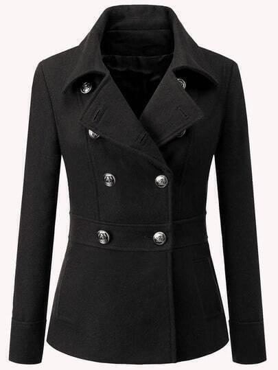 Black Lapel Double Breasted Woolen Coat