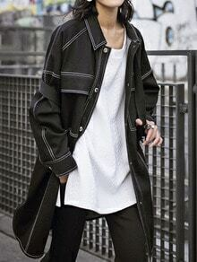 Black Lapel Single Breasted Trench Coat