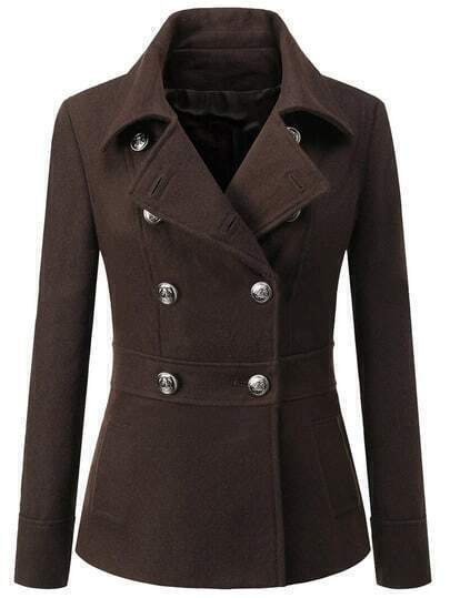 Coffee Lapel Double Breasted Woolen Coat