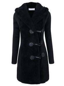 Black Hooded Horns Deduction Woolen Coat