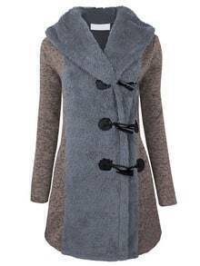 Grey Hooded Horns Deduction Woolen Coat