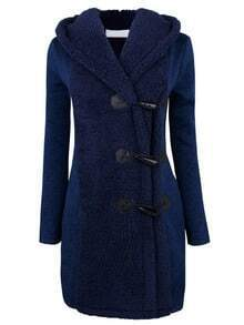 Blue Hooded Horns Deduction Woolen Coat