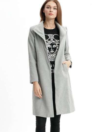 Grey Lapel Long Sleeve Pockets Loose Coat