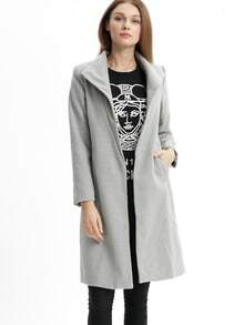 Grey Lapel Long Sleeve Pockets Loose Coat