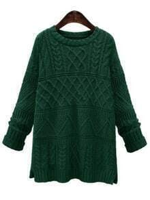Green Cable Knit Slit Sweate
