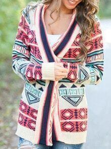 Colour Long Sleeve Geometric Print Knitwear