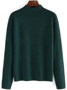 Green Mock Neck Long Sleeve Loose Knitwear