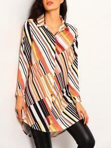 Colour Long Sleeve Vertical Stripe Dip Hem Blouse
