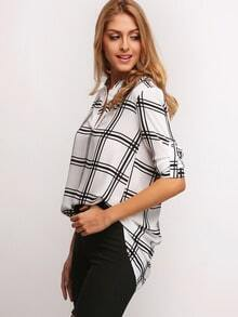 White Black V Neck Plaid Loose Blouse