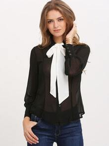 Black Bow Collar Lantern Sleeve Loose Blouse