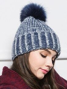 Navy Hairball Embellished Knit Hat