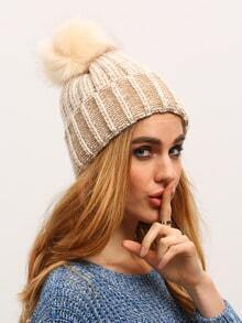 Beige Hairball Embellished Knit Hat