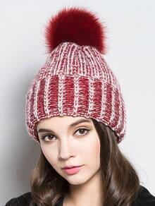 Red Hairball Embellished Knit Hat
