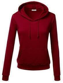 Burgundy Hooded Long Sleeve Slim Sweatshirt