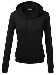 Black Hooded Long Sleeve Slim Sweatshirt