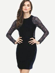 Navy Long Sleeve Lace Slim Pencil Dress
