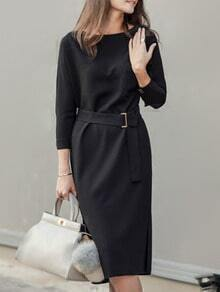 Black Round Neck Belt Split Dress