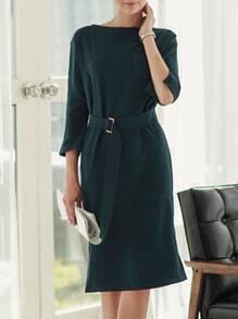 Dark Green Round Neck Belt Split Dress