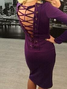 Purple Scoop Neck Lace Up Backless Dress