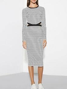 Black White Round Neck Striped Hollow Dress