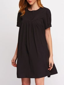 Black Short Sleeve Buttons Loose Dress