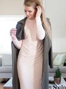 Light Pink Long Sleeve Slim Dress