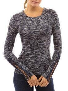 Blue Hooded Peplum Sleeve Slim T-Shirt