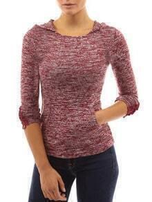 Red Hooded Peplum Sleeve Slim T-Shirt