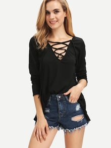 Black V Neck Lace Up Loose T-Shirt