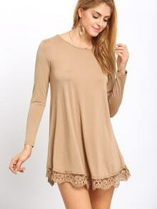 Coffee Round Neck Peplum Hem Loose T-Shirt