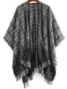 Black Plaid Fringe Loose Cape