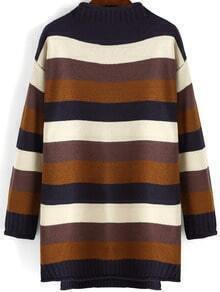 Colour Mock Neck Striped Loose Sweater