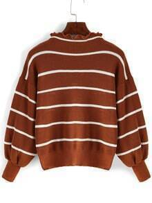 Khaki Frill Neck Striped Crop Sweater