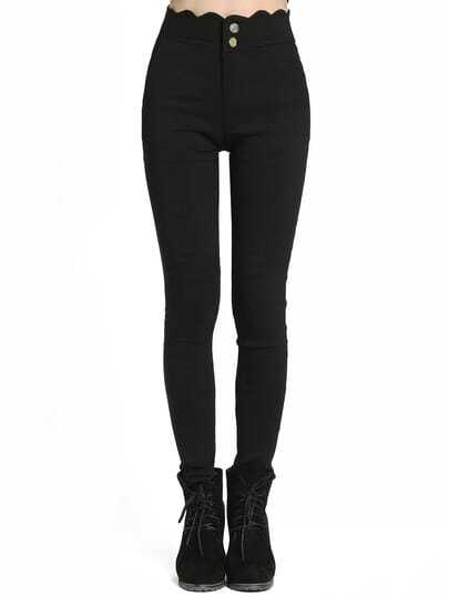 Black Scalloped Skinny Pant