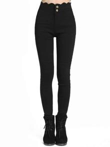 Pantalon skinny écaille sur taille -noir