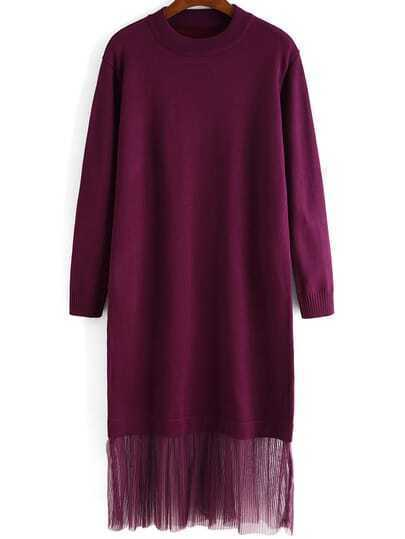 Purple Round Neck Sheer Mesh Sweater Dress