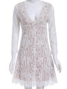 White V Neck Floral Crochet Lace Dress