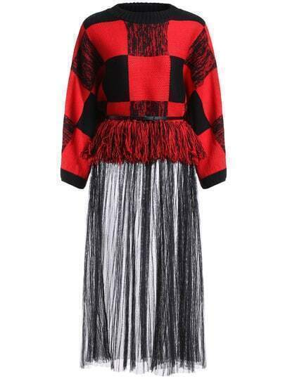 Black Red Round Neck Plaid Sheer Mesh Dress