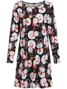 Colour Round Neck Snowman Print Dress